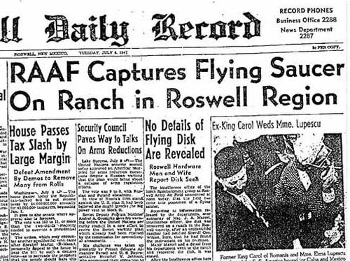 RAAF Captures Flying Saucer On Ranch in Roswell