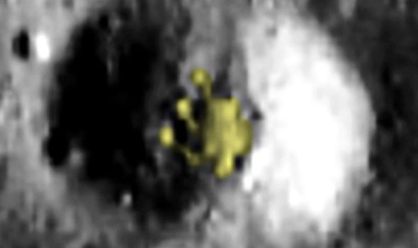 """""""This is an alien space ship that has landed inside the small crater."""" (Image: UFO SIGHTINGS DAILY)"""